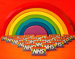 The rainbow flag for the LGBT community with NHS